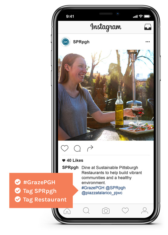 Example of instagram entry showing the use of #grazepgh, @sprpgh, and tagging the restaurant